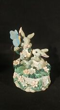 House of Lloyd Bunny Rabbits in a Meadow Figurine Spring Easter Decor