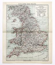 1884 England Wales Map Railroads London Isle of Man Original German Color Karte