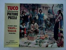 Vtg TUCO Picture Puzzle Over 250 Tripl-Thick Pieces First Thanksgiving Indians