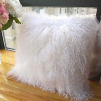 100% Real Mongolian Fur Square White Pillowcase CoverSeat Pillow Cushion 16x16''