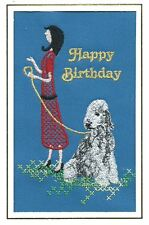 Bedlington Terrier Birthday Card Embroidered by Dogmania - FREE PERSONALISATION