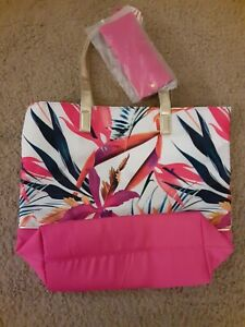 Tropical Tote Flower Beach Bag  Gold & Pink Floral Large