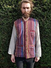 Men's Colourful Stripe Nehru Collar Waistcoat, Mandarin Grandad Kurta Long M-XXL