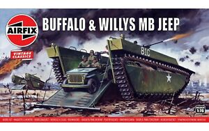 """New Airfix 1:76th Scale """"Vintage Classics"""" Buffalo & Willys MB Jeep Model Kit."""