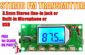 STEREO FM BROADCAST TRANSMITTER 175mW  87.5-108MHz. Campus, Festival  etc