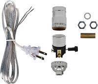 Make a Lamp or Repair Kit - All Essential Hardware, 3 Way Socket - Silver