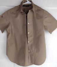 Polo Ralph Lauren Short Sleeve Shirt Beige Embroidered Safari Style 14 Shirt