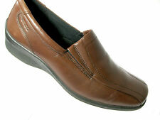 Ecco Slip On Shoes Loafers Womens EU 39 US 8 8.5 Medium Brown Bicycle Toe