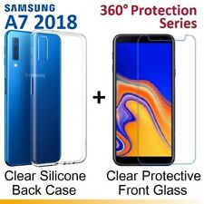 Clear Front / Back Tempered Glass Screen Protector Gel Case for Samsung A7 2018