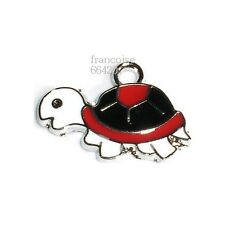 1 BRELOQUE EMAILLEE CHARM PERLE PENDENTIF / TORTUE 17X24.5mm / CREATION BIJOU BR