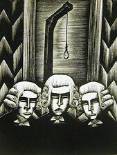 Lynd Ward 1930 PROSECUTORS JUDGES HANGING DEATH SENTENCE Art Deco Print Matted