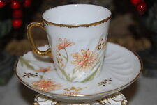 WONDERFUL FLOWERS AND SPONGED GOLD SWIRL SHAPE STYLE DEMITASSE CUP AND SAUCER #2