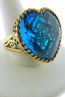 Sajen Bronze Ring by Marianna and Richard Jacobs Amore Heart Turquise Dream Blue