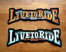 "LIVE TO RIDE Harley Davidson Embroidered Iron/Sew-On Extra Large Patch 13""x 4.5"""