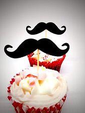 Black Mustache party picks Bridal Shower Little Man Hen cupcake toppers 12 pcs