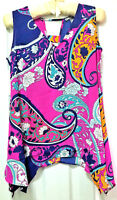 Kate & Mallory Sleeveless Floral High Low Side Hem Shirt, Hot Pink, Medium
