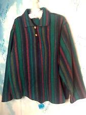 Vintage Woolmaster Women's Jacket Size L Pullover Wool Striped Long Bell Sleeves