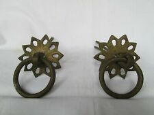 Antique vintage Old brass door drawer cabinet knob handle pull round decor p2