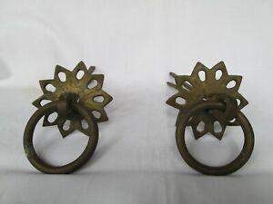 Antique vintage Old brass door drawer cabinet knob handle pull round decor p2