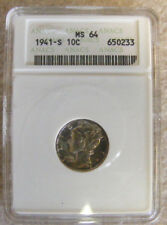 1941-S MS64  MERCURY SILVER DIME COIN - FULL BANDS LUSTROUS ANACS