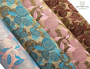 """Shimmer Brocade Jacquard Fabric, Abstract Rose Vines Gold Swirl 45"""" Bags Sparkle"""
