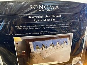 QUEEN SIZE FLANNEL SHEET SET CHRISTMAS HOLIDAY SNOWMAN SONOMA  NEW IN PACKAGE