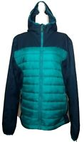 Women's H&M Sport Green Blue Zip Front Hooded Puffer Jacket Size Medium