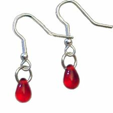 True VAMPIRE RED BLOOD DROPS EARRINGS - Gothic Dracula Halloween Costume Jewelry