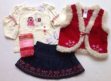 NWT Gymboree Peruvian Doll 18-24 Dolly Llama Tee Fur Trim Vest Skirt & Tights