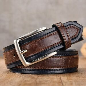 MENS LEATHER BELTS CASUAL FASHIONABLE TROUSER BELT PIN BUCKLE BLACK BROWN GRAY