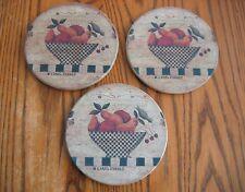 "CAROL ENDRES  ""Fruit Basket with Bird"" 4 1/4"" Pottery Coaster SET OF 3"