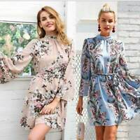 Women Printed Long Sleeve Boho Summer Casual Beach Beach Dress Shirt Mini