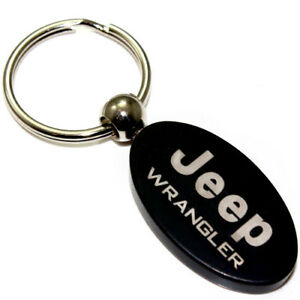 Black Aluminum Metal Oval Jeep Wrangler Logo Key Chain Fob Chrome Ring