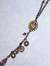 Liz Palacios Pink Crystal & Iridescent Glass Lavaliere Brass Necklace