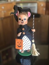 Annalee Halloween 2015 Witch Mouse with Broom Trick Treat Bag Polka Dot Dress