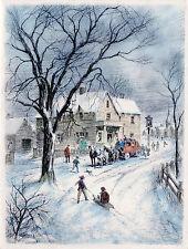 Vntg XMAS Card VILLAGE SCENE w People At STAGECOACH INN,KIDS Play In SNOW UNused