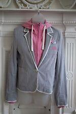BNWT Superdry Blazer w/ Detachable Jumper Hood Hoodie Size S Blue Stripes & Pink
