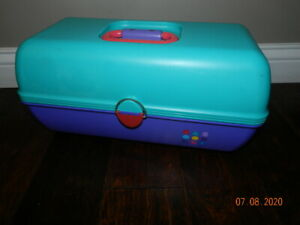 Vintage Caboodles of California Teal/Purple Cosmetic Case Mirror Tray LARGE