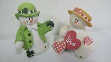 Snowonders Snowman Figures (2) Sarah'S Attic Feburary Valentino & Lucky March