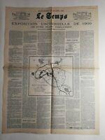 N281 La Une Du Journal Le temps 22 juin 1893 exposition universelle de 1900