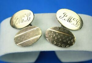 Pair Of Art Deco 9CT Gold & Silver Gents Monogram Cufflinks By H.G & S 8.98g