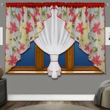 Voile Net Curtains Ready Made Floral Modern Red Grey Blue Black Beige White New