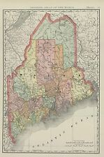ANTIQUE MAP OF MAINE W/ RAILROADS,  DEPOTS, BEACHES, MILLS, & MORE   DATED  1901
