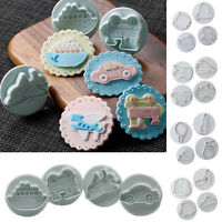 4pcs Fondant Cake Decorating Sugarcraft Plunger Cookie Biscuit Cutter Mold Tools