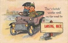 """The Clutch Works Well"" on Road to Lansing Michigan~Boy & Girl in Car~1912 PC"