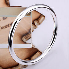 925Sterling Silver Jewelry Cool Smooth Round Circle Men Women Bracelet BP081