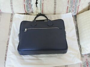 Bally Condria Business Laptop Bag Briefcase, Leather - Navy Blue with belt - NEW