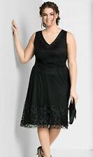 Sheego Kleid Gr.48 Damen Abendkleid schwarz Festlich knielang Cocktailkleid Stic