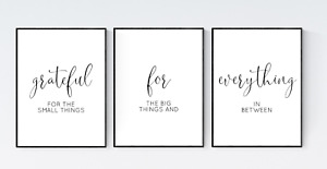 Grateful for Everything Prints, Set of 3 Gratitude Quotes, Living Room Prints