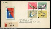 LIECHTENSTEIN  MICHEL#353/56 SPORTS 1957 REG-FIRST DAY COVER TO STATEN ISLAND NY